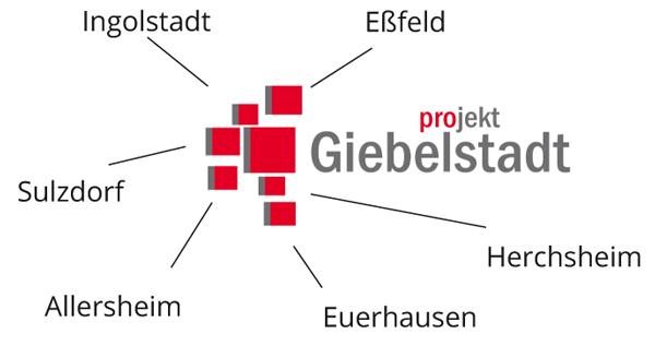 Das Logo des Gewerbevereins Projekt Giebelstadt e. V. symbolisiert die sieben Ortsteile Giebelstadts in exakter Relation